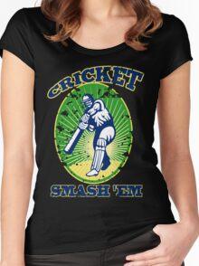 cricket player batsman batting smash 'em retro Women's Fitted Scoop T-Shirt