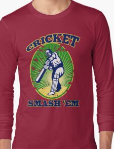 cricket player batsman batting smash 'em retro Long Sleeve T-Shirt