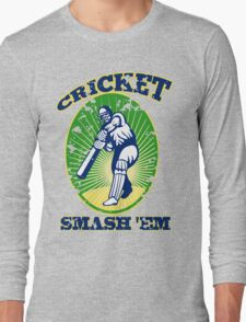 cricket player batsman batting smash 'em retro Long Sleeve T-Shirt