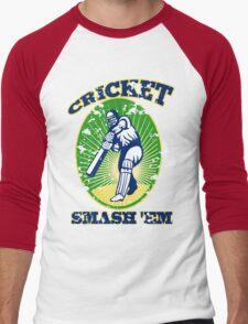 cricket player batsman batting smash 'em retro Men's Baseball ¾ T-Shirt