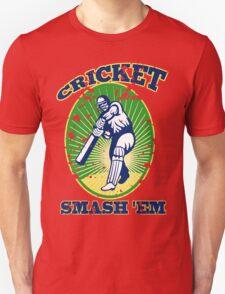 cricket player batsman batting smash 'em retro Unisex T-Shirt