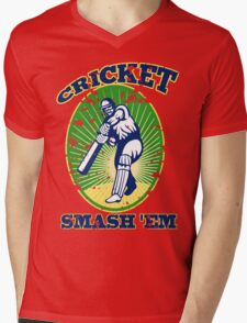 cricket player batsman batting smash 'em retro Mens V-Neck T-Shirt