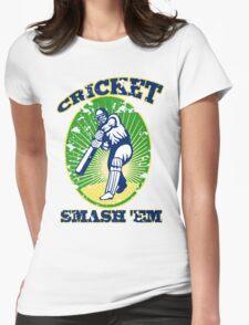 cricket player batsman batting smash 'em retro Womens Fitted T-Shirt