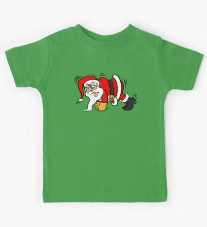 Santa Claus Doing Pushups Kids Tee