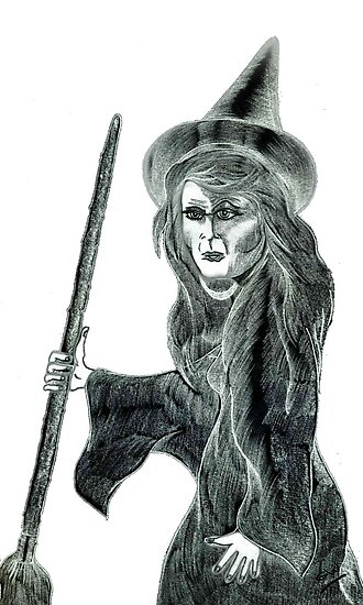 Halloween Witch Pencil Drawing. by Grant Wilson