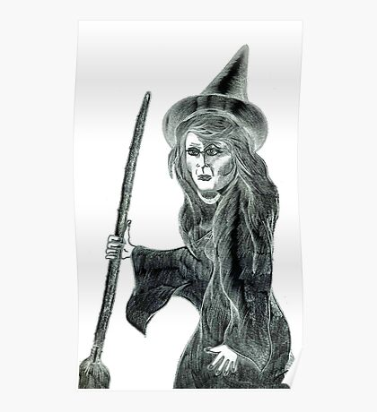 Halloween Witch Pencil Drawing. Poster