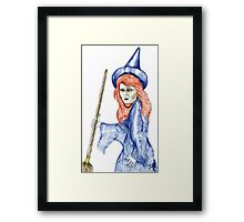 Halloween Witch Coloured Pencil Version. Framed Print