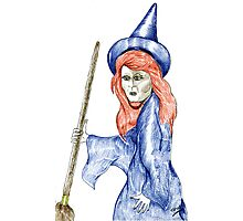 Halloween Witch Coloured Pencil Version. Photographic Print