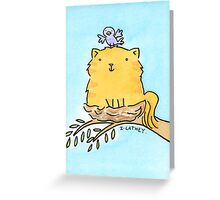 Ginger Cat in Birds Nest Greeting Card