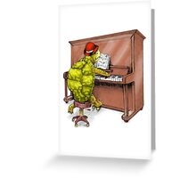 Piano Playing Turtle Art Greeting Card