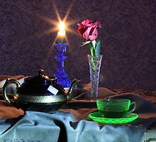 Green Tea Cup with rose (still life) by FrankSchmidt