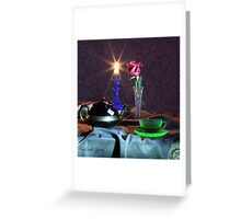 Green Tea Cup with rose (still life) Greeting Card