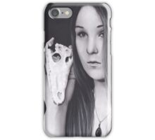 Original Realism Charcoal Drawing of Beautiful Woman with Reptile Skull iPhone Case/Skin