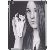 Original Realism Charcoal Drawing of Beautiful Woman with Reptile Skull iPad Case/Skin