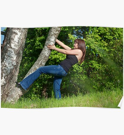 Young woman with tree. Poster