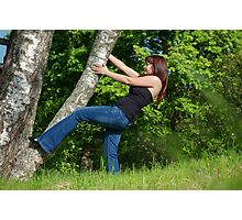 Young woman with tree. Photographic Print