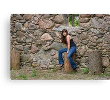 Beauty girl on the ruins. Canvas Print