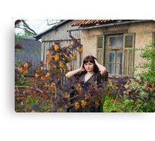Beauty girl in garden. Canvas Print