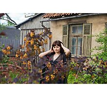 Beauty girl in garden. Photographic Print