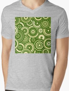 Mod Target concentric circles repeating pattern, moss green Mens V-Neck T-Shirt