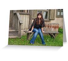Beauty girl near the old house. Greeting Card