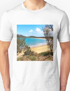 Idyllic bay seen through trees Unisex T-Shirt