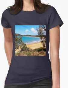 Idyllic bay seen through trees Womens Fitted T-Shirt