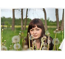 Beauty girl in meadow. Poster