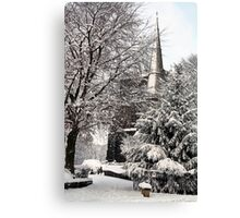 Ormskirk Parish Church During a Snowy Winter Canvas Print