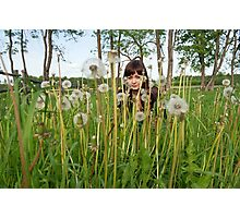 Beauty girl in meadow. Photographic Print