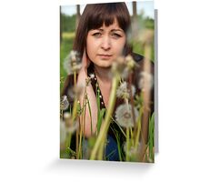 Portrait of beauty girl with dandelions. Greeting Card
