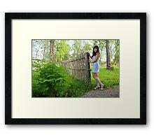 Rural scene with beauty girl. Framed Print