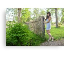 Rural scene with beauty girl. Metal Print