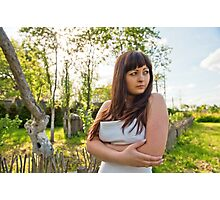 Rural scene with beauty girl. Photographic Print