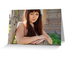 Portrait of beauty girl in nature. Greeting Card