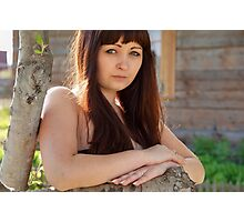 Portrait of beauty girl in nature. Photographic Print
