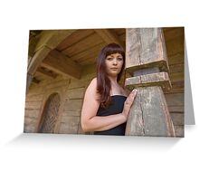 Beauty girl on homestead Greeting Card