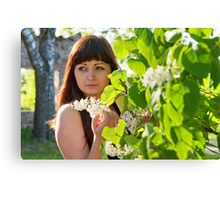 Beauty girl in lilac. Canvas Print