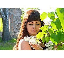 Beauty girl in lilac. Photographic Print