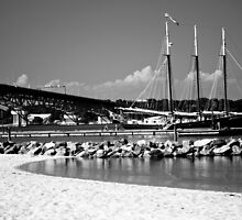 Black and White Landscape of Yorktown Beach by JenCarter757