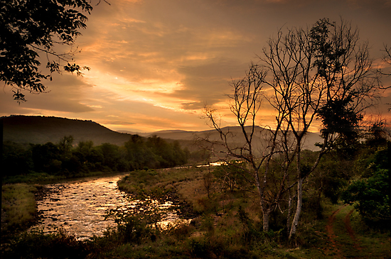 Sunset over the Umkomaas River, Kwazulu Natal, South Africa by Sharon Bishop
