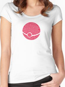 Typography Pokeball Women's Fitted Scoop T-Shirt