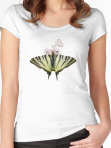 Scarce Swallowtail On Wild Garlic Flowers Vector Isolated Women's Fitted Scoop T-Shirt