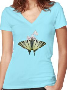 Scarce Swallowtail On Wild Garlic Flowers Vector Isolated Women's Fitted V-Neck T-Shirt
