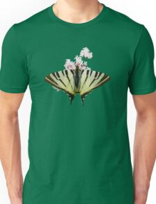 Scarce Swallowtail On Wild Garlic Flowers Vector Isolated Unisex T-Shirt