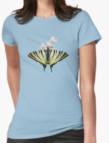 Scarce Swallowtail On Wild Garlic Flowers Vector Isolated Womens Fitted T-Shirt