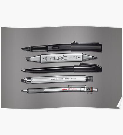 Pro Graphic Design Pens (Grey) Poster