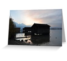 Barn silhouettes at dusk Greeting Card