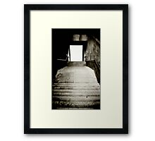Black and White Stairs to the light Framed Print