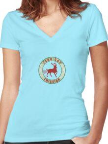 zero co2 emission Women's Fitted V-Neck T-Shirt